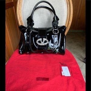 Valentino Crystal Logo Catch Black Patent Handbag